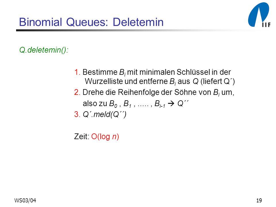 19WS03/04 Binomial Queues: Deletemin Q.deletemin(): 1.