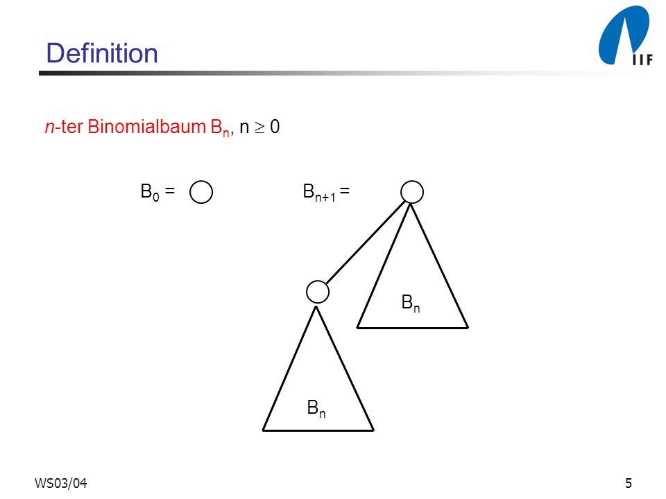 5WS03/04 Definition n-ter Binomialbaum B n, n 0 B 0 = B n+1 = BnBn BnBn