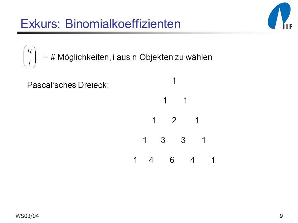 9WS03/04 Exkurs: Binomialkoeffizienten = # Möglichkeiten, i aus n Objekten zu wählen Pascalsches Dreieck: 1 1 1 1 2 1 1 3 3 1 1 4 6 4 1