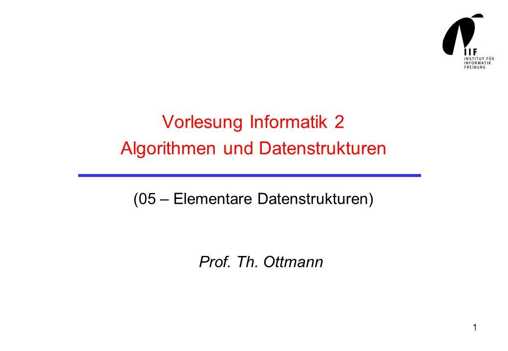 1 Vorlesung Informatik 2 Algorithmen und Datenstrukturen (05 – Elementare Datenstrukturen) Prof. Th. Ottmann