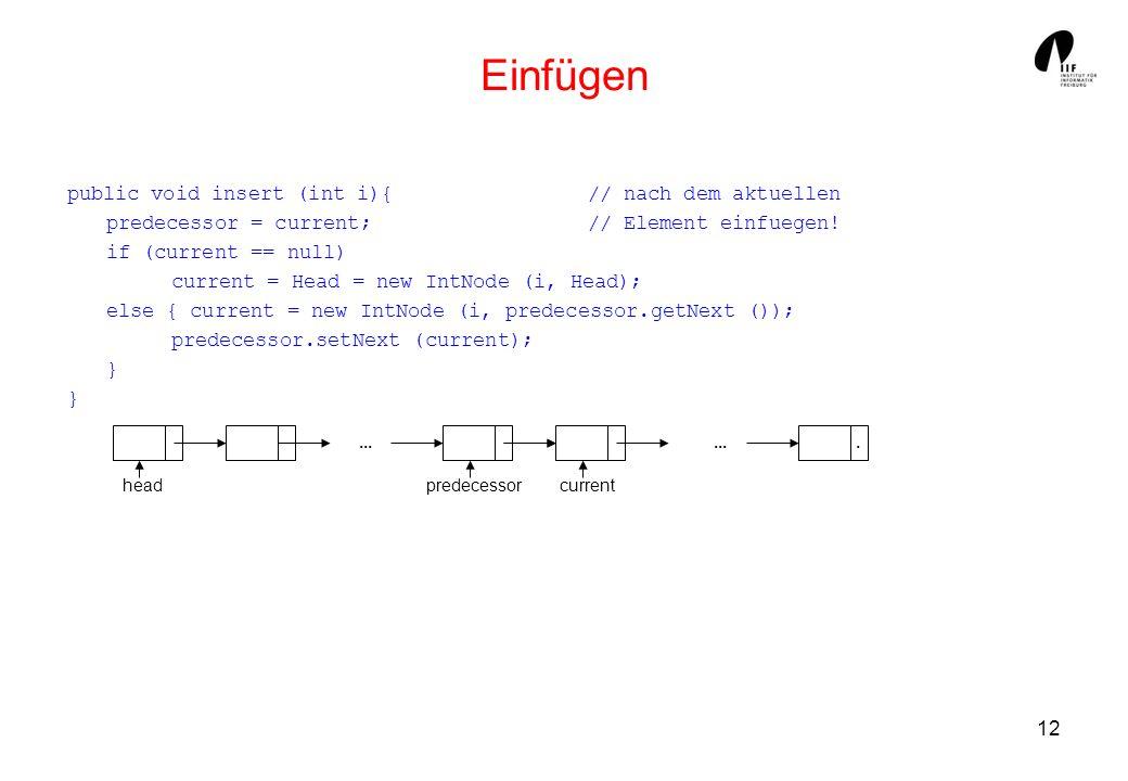 12 Einfügen public void insert (int i){ // nach dem aktuellen predecessor = current; // Element einfuegen! if (current == null) current = Head = new I