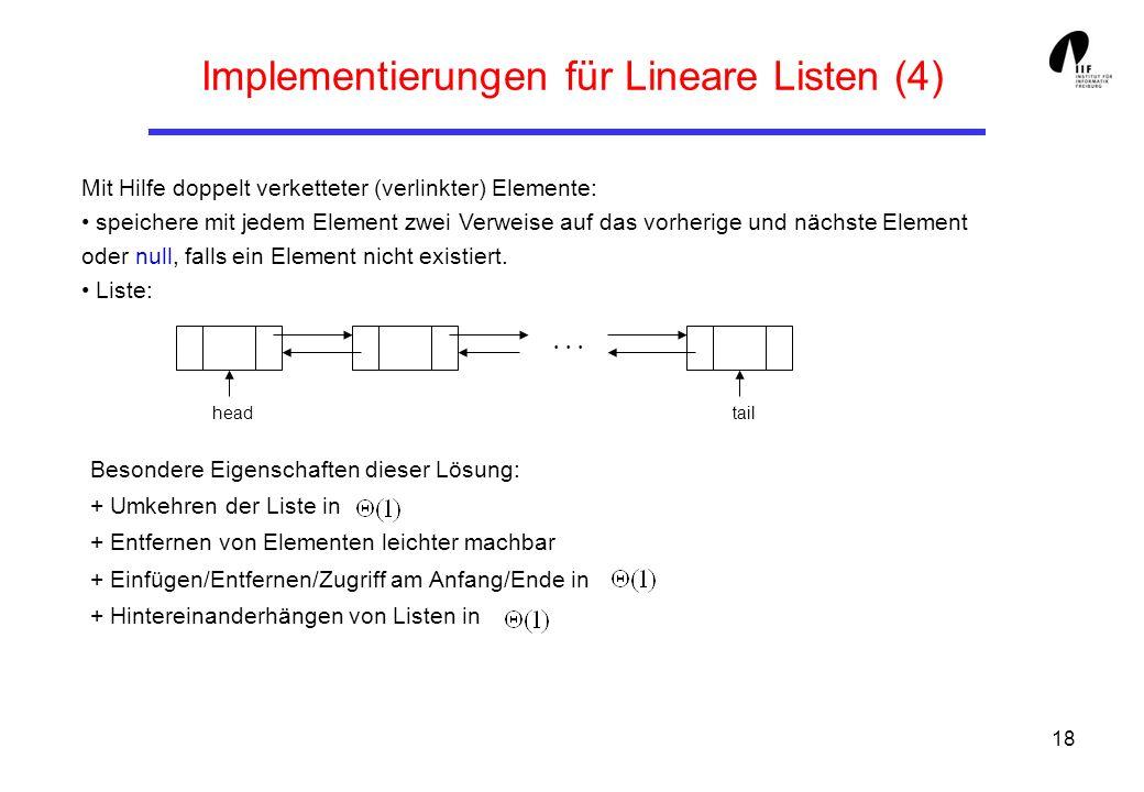 18 Implementierungen für Lineare Listen (4) Mit Hilfe doppelt verketteter (verlinkter) Elemente: speichere mit jedem Element zwei Verweise auf das vor