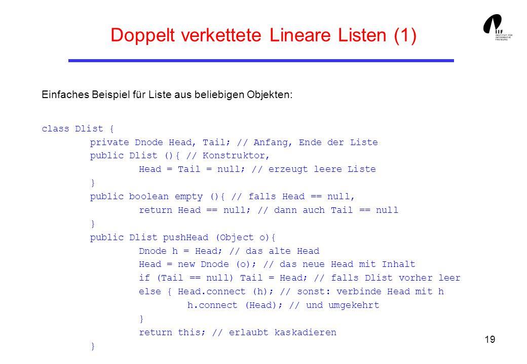 19 Doppelt verkettete Lineare Listen (1) Einfaches Beispiel für Liste aus beliebigen Objekten: class Dlist { private Dnode Head, Tail; // Anfang, Ende