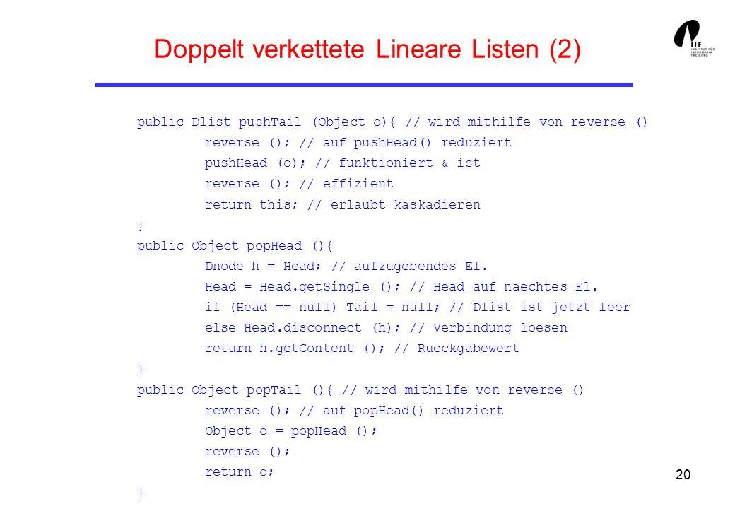 20 Doppelt verkettete Lineare Listen (2) public Dlist pushTail (Object o){ // wird mithilfe von reverse () reverse (); // auf pushHead() reduziert pus