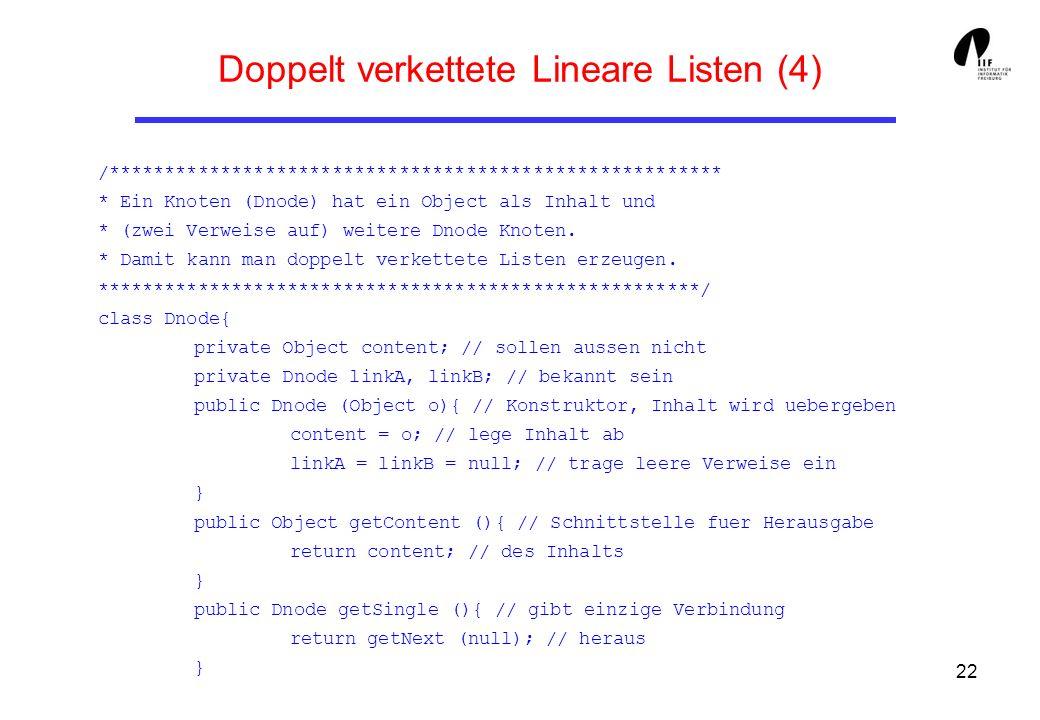 22 Doppelt verkettete Lineare Listen (4) /******************************************************* * Ein Knoten (Dnode) hat ein Object als Inhalt und *