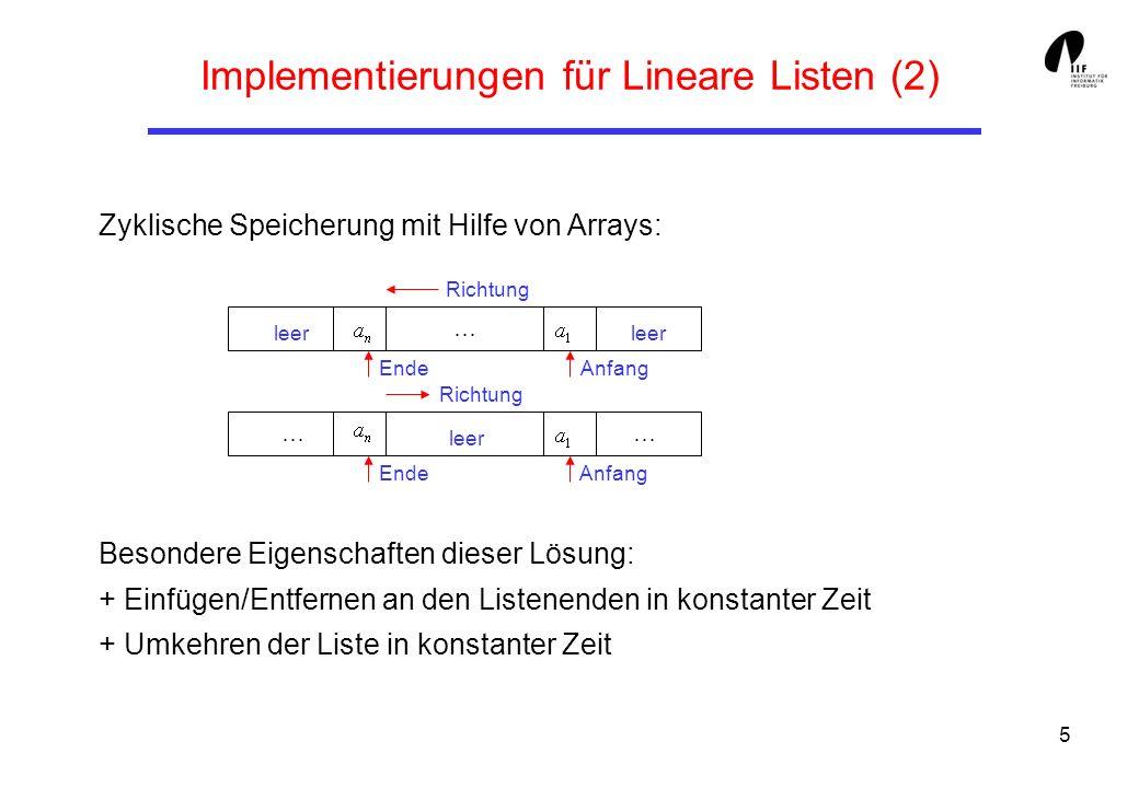 5 Implementierungen für Lineare Listen (2) Zyklische Speicherung mit Hilfe von Arrays: Besondere Eigenschaften dieser Lösung: + Einfügen/Entfernen an