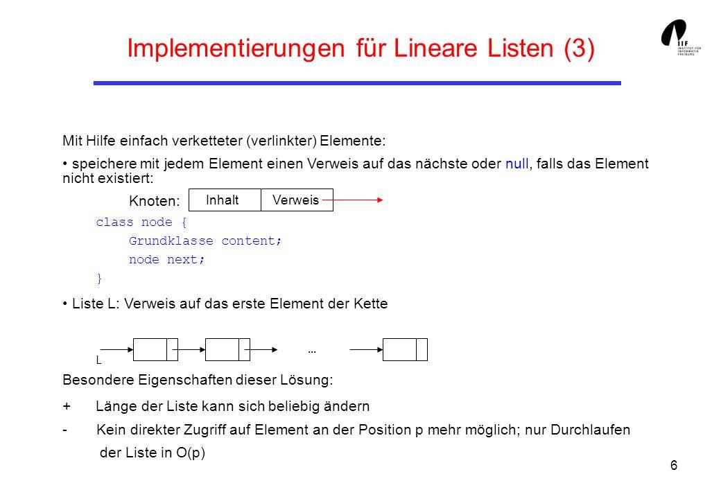 17 Einfach verkettete Lineare Listen (8) public String toString (){ // Ausgabe aller Elemente String res= ; IntNode h = Head; while (h != null) { res+=h.getContent() + ; h = h.getNext (); } return res; }