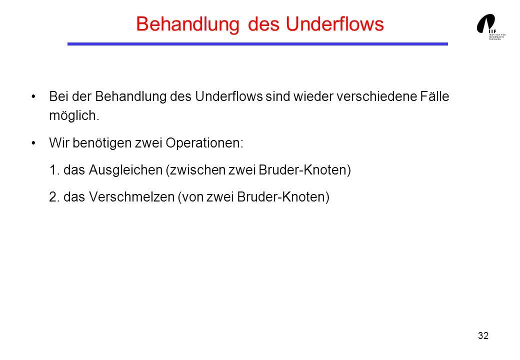 32 Behandlung des Underflows Bei der Behandlung des Underflows sind wieder verschiedene Fälle möglich. Wir benötigen zwei Operationen: 1. das Ausgleic