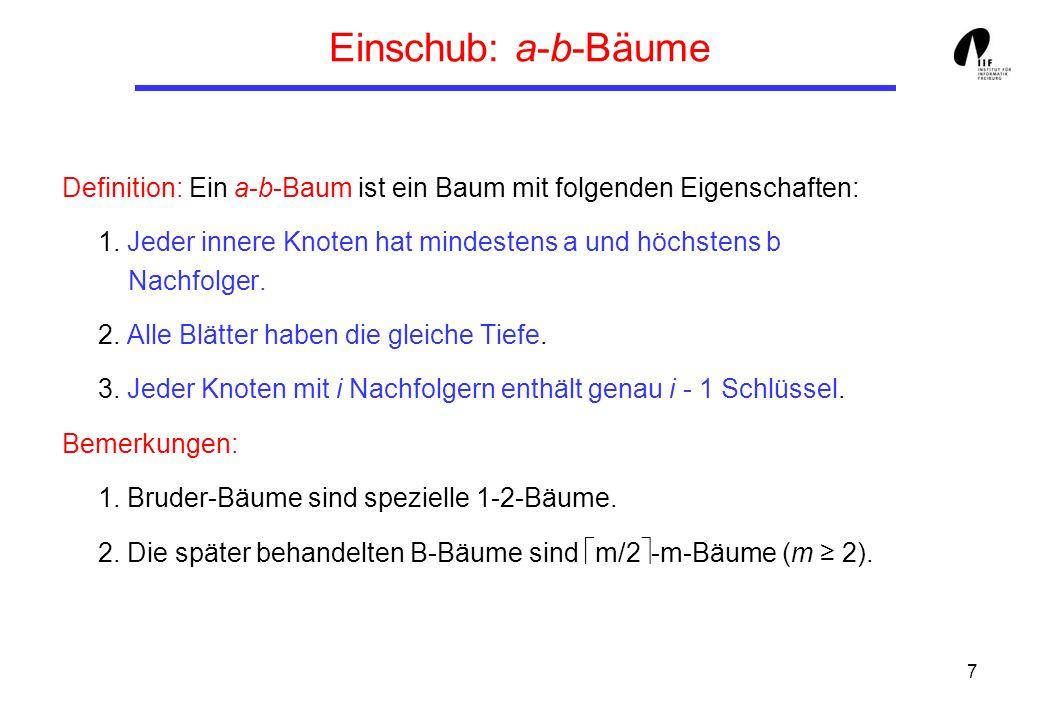 8 Operationen auf Bruder-Bäumen (1) Suchen: Im Prinzip analog zu binären Suchbäumen.