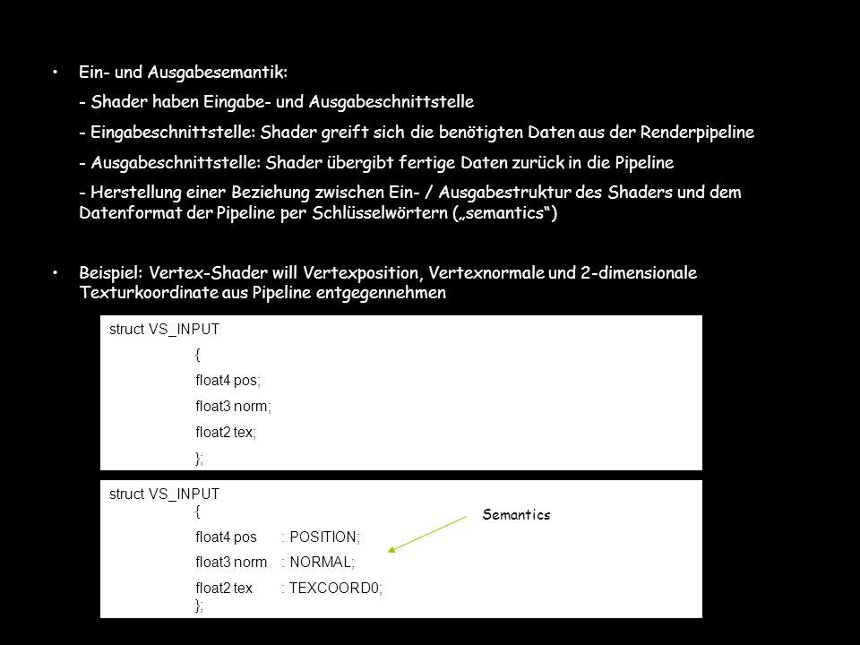 Ein- und Ausgabesemantik: - Shader haben Eingabe- und Ausgabeschnittstelle - Eingabeschnittstelle: Shader greift sich die benötigten Daten aus der Ren