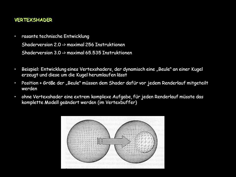 VERTEXSHADER rasante technische Entwicklung Shaderversion 2.0 -> maximal 256 Instruktionen Shaderversion 3.0 -> maximal 65.535 Instruktionen Beispiel: