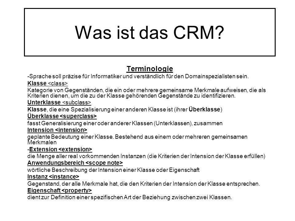 Was ist das CRM? Terminologie -Sprache soll präzise für Informatiker und verständlich für den Domainspezialisten sein. Klasse Kategorie von Gegenständ