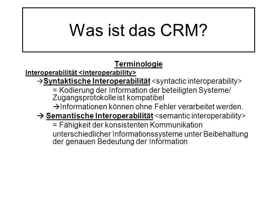 Was ist das CRM? Terminologie Interoperabilität Syntaktische Interoperabilität = Kodierung der Information der beteiligten Systeme/ Zugangsprotokolle