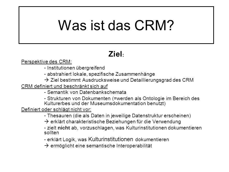 Was ist das CRM? Ziel : Perspektive des CRM: - Institutionen übergreifend - abstrahiert lokale, spezifische Zusammenhänge Ziel bestimmt Ausdrucksweise