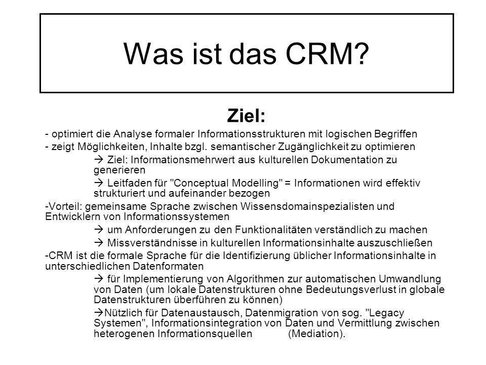 Was ist das CRM? Ziel: - optimiert die Analyse formaler Informationsstrukturen mit logischen Begriffen - zeigt Möglichkeiten, Inhalte bzgl. semantisch