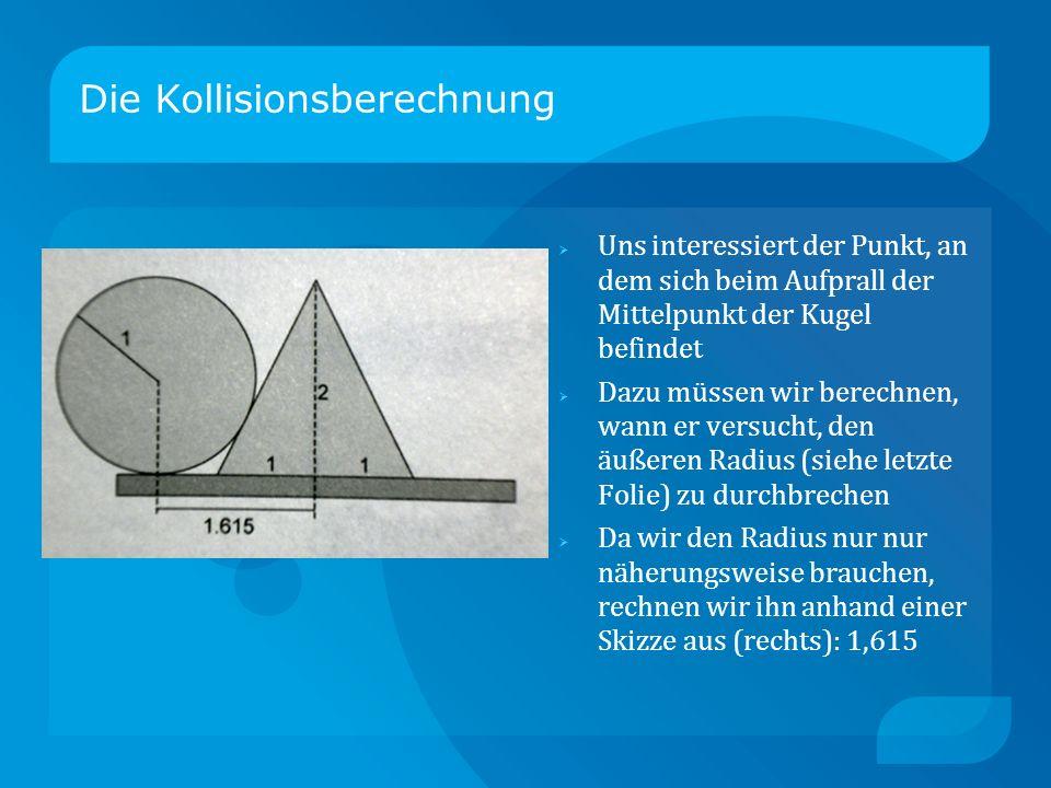 Die Kollisionsberechnung Uns interessiert der Punkt, an dem sich beim Aufprall der Mittelpunkt der Kugel befindet Dazu müssen wir berechnen, wann er versucht, den äußeren Radius (siehe letzte Folie) zu durchbrechen Da wir den Radius nur nur näherungsweise brauchen, rechnen wir ihn anhand einer Skizze aus (rechts): 1,615