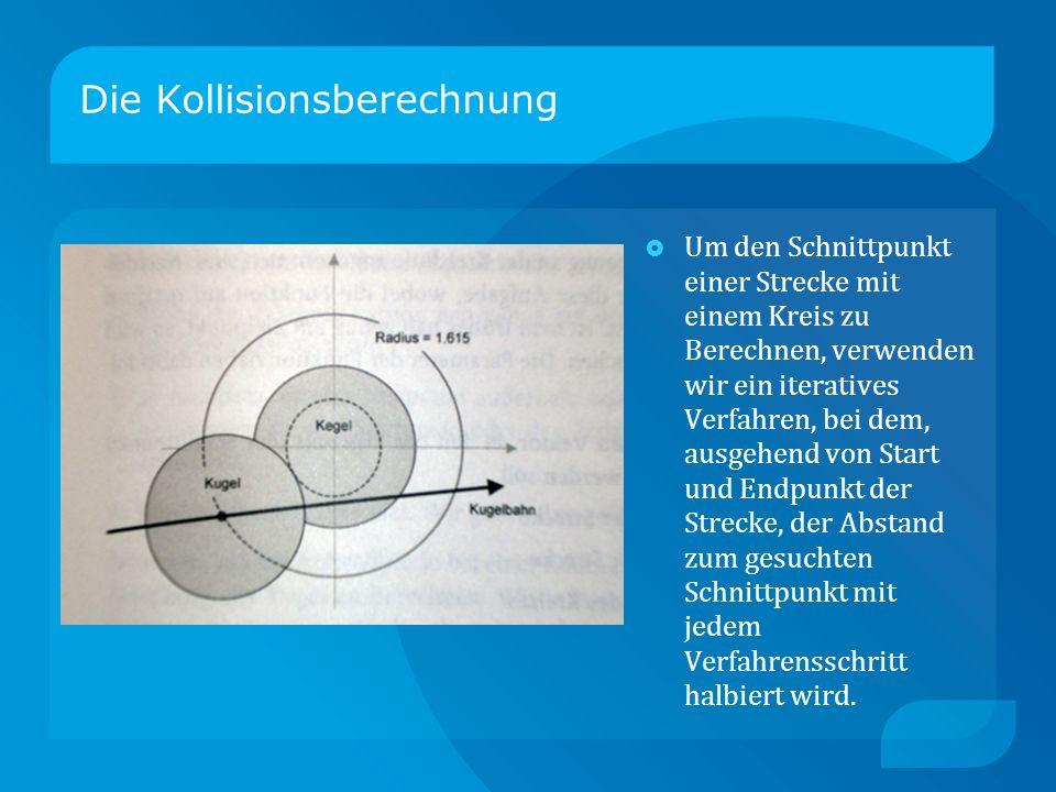 Die Kollisionsberechnung Um den Schnittpunkt einer Strecke mit einem Kreis zu Berechnen, verwenden wir ein iteratives Verfahren, bei dem, ausgehend von Start und Endpunkt der Strecke, der Abstand zum gesuchten Schnittpunkt mit jedem Verfahrensschritt halbiert wird.