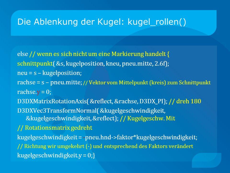 Die Ablenkung der Kugel: kugel_rollen() else // wenn es sich nicht um eine Markierung handelt { schnittpunkt( &s, kugelposition, kneu, pneu.mitte, 2.6f); neu = s – kugelposition; rachse = s – pneu.mitte; // Vektor vom Mittelpunkt (kreis) zum Schnittpunkt rachse.y = 0; D3DXMatrixRotationAxis( &reflect, &rachse, D3DX_PI); // dreh 180 D3DXVec3TransformNormal( &kugelgeschwindigkeit, &kugelgeschwindigkeit, &reflect); // Kugelgeschw.