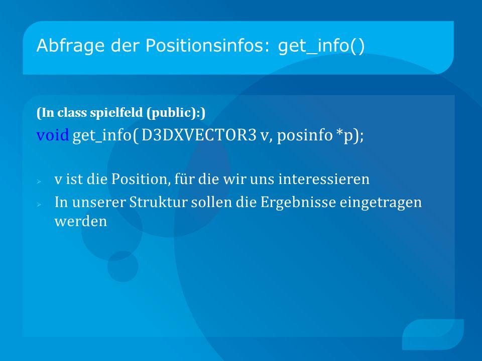 Abfrage der Positionsinfos: get_info() (In class spielfeld (public):) void get_info( D3DXVECTOR3 v, posinfo *p); v ist die Position, für die wir uns interessieren In unserer Struktur sollen die Ergebnisse eingetragen werden