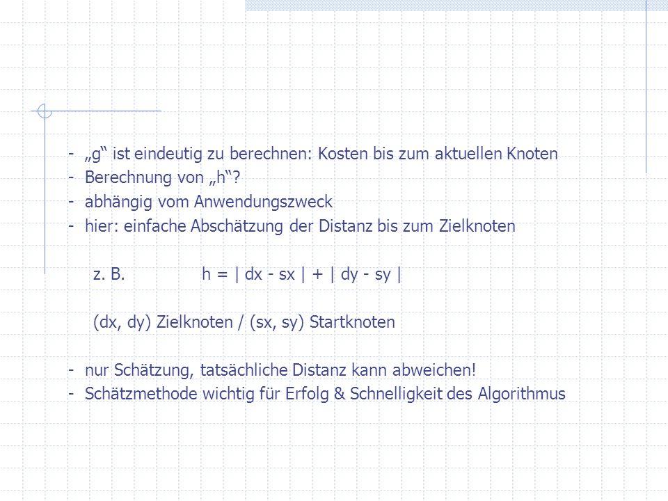 - g ist eindeutig zu berechnen: Kosten bis zum aktuellen Knoten - Berechnung von h? - abhängig vom Anwendungszweck - hier: einfache Abschätzung der Di