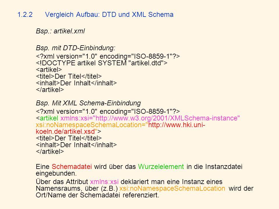 1.2.2Vergleich Aufbau: DTD und XML Schema Bsp.: artikel.xml Bsp. mit DTD-Einbindung: Der Titel Der Inhalt Bsp. Mit XML Schema-Einbindung Der Titel Der