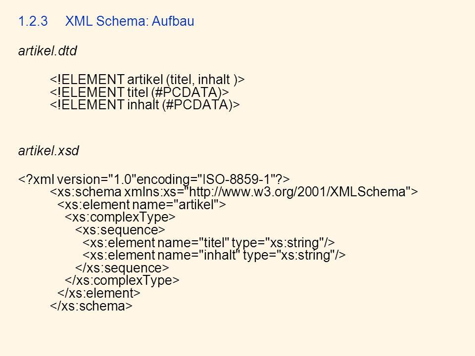 1.2.3XML Schema: Aufbau artikel.dtd artikel.xsd