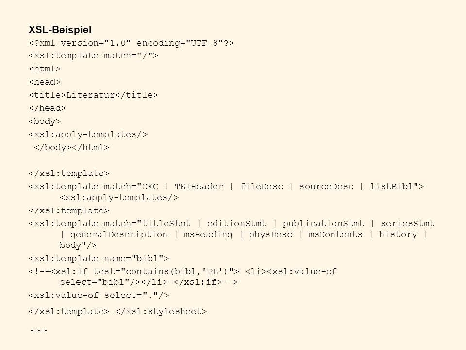 XSL-Beispiel Literatur -->...