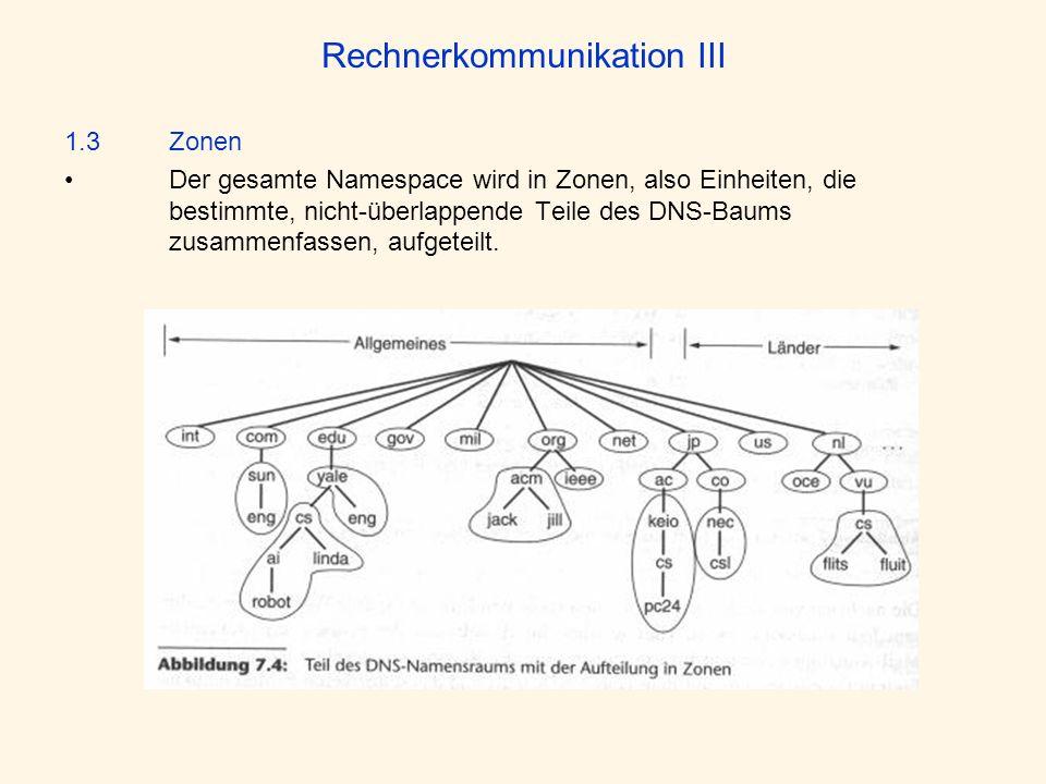 Rechnerkommunikation III 1.3 Zonen Der gesamte Namespace wird in Zonen, also Einheiten, die bestimmte, nicht-überlappende Teile des DNS-Baums zusammen