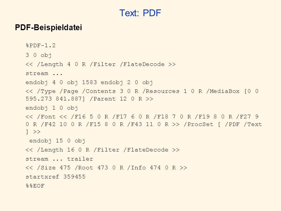 Text: PDF PDF-Beispieldatei %PDF-1.2 3 0 obj > stream... endobj 4 0 obj 1583 endobj 2 0 obj > endobj 1 0 obj > /ProcSet [ /PDF /Text ] >> endobj 15 0