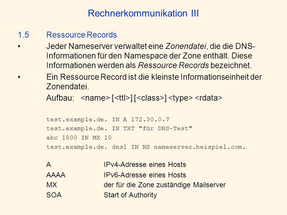 Rechnerkommunikation III 1.5 Ressource Records Jeder Nameserver verwaltet eine Zonendatei, die die DNS- Informationen für den Namespace der Zone enthä