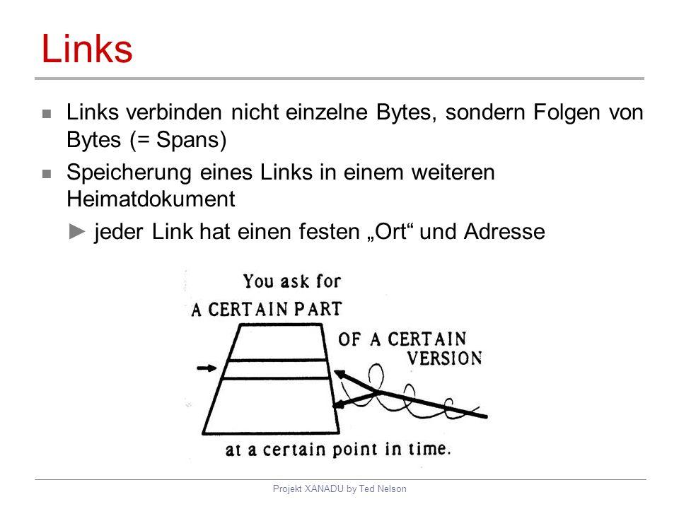 Projekt XANADU by Ted Nelson Links Links verbinden nicht einzelne Bytes, sondern Folgen von Bytes (= Spans) Speicherung eines Links in einem weiteren
