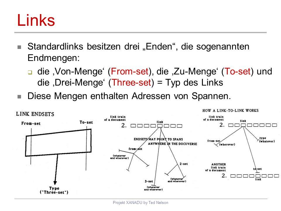 Projekt XANADU by Ted Nelson Links Standardlinks besitzen drei Enden, die sogenannten Endmengen: die Von-Menge (From-set), die Zu-Menge (To-set) und d