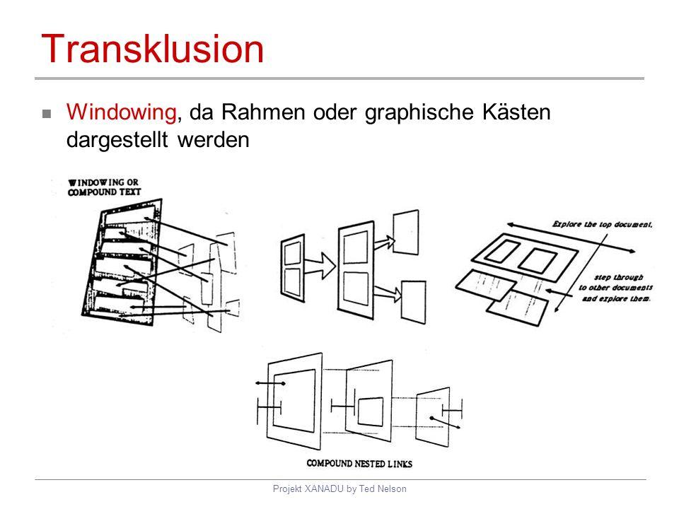 Projekt XANADU by Ted Nelson Transklusion Windowing, da Rahmen oder graphische Kästen dargestellt werden