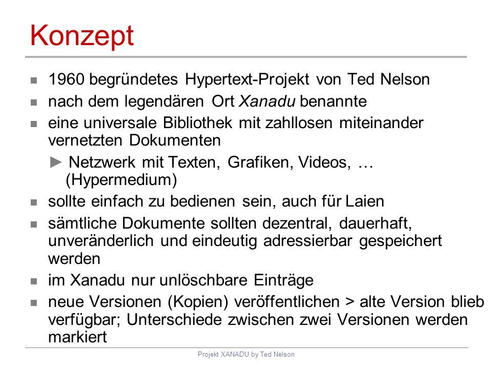 Projekt XANADU by Ted Nelson Konzept 1960 begründetes Hypertext-Projekt von Ted Nelson nach dem legendären Ort Xanadu benannte eine universale Bibliot