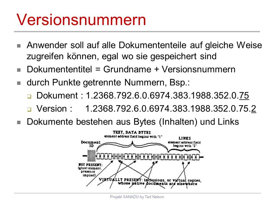 Projekt XANADU by Ted Nelson Versionsnummern Anwender soll auf alle Dokumententeile auf gleiche Weise zugreifen können, egal wo sie gespeichert sind D
