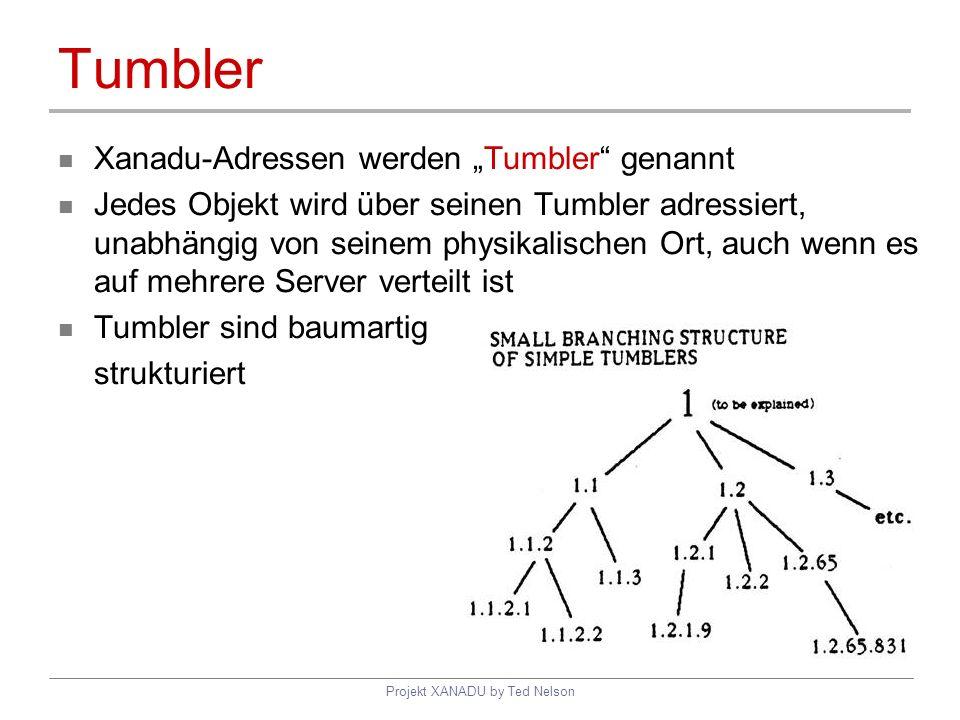 Projekt XANADU by Ted Nelson Tumbler Xanadu-Adressen werden Tumbler genannt Jedes Objekt wird über seinen Tumbler adressiert, unabhängig von seinem ph
