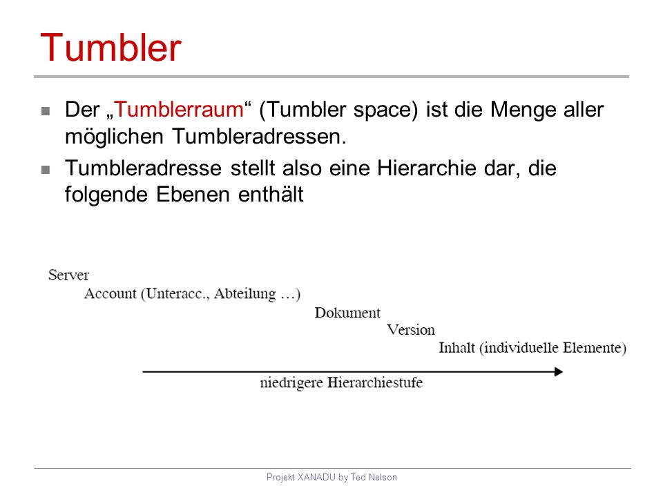 Projekt XANADU by Ted Nelson Tumbler Der Tumblerraum (Tumbler space) ist die Menge aller möglichen Tumbleradressen. Tumbleradresse stellt also eine Hi