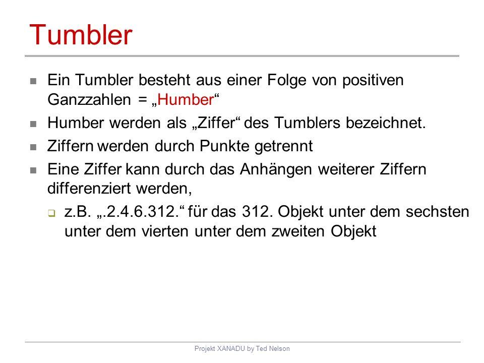 Projekt XANADU by Ted Nelson Tumbler Ein Tumbler besteht aus einer Folge von positiven Ganzzahlen = Humber Humber werden als Ziffer des Tumblers bezei