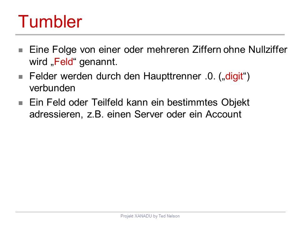 Projekt XANADU by Ted Nelson Tumbler Eine Folge von einer oder mehreren Ziffern ohne Nullziffer wird Feld genannt. Felder werden durch den Haupttrenne