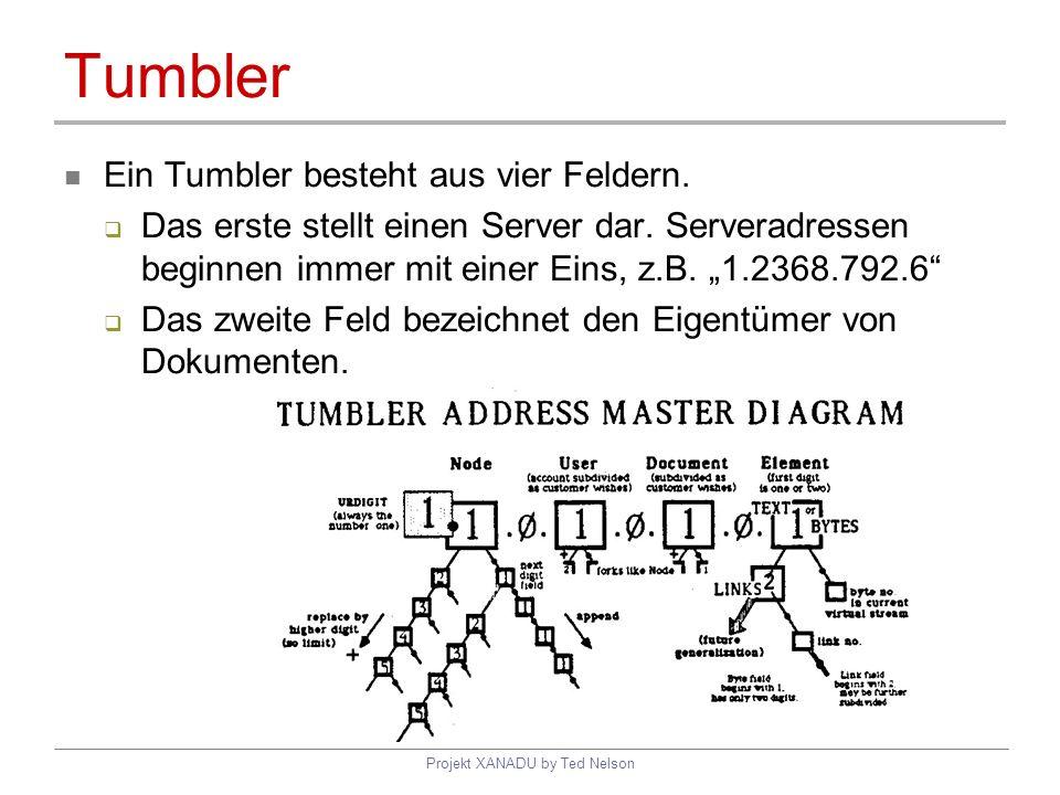 Projekt XANADU by Ted Nelson Tumbler Ein Tumbler besteht aus vier Feldern. Das erste stellt einen Server dar. Serveradressen beginnen immer mit einer