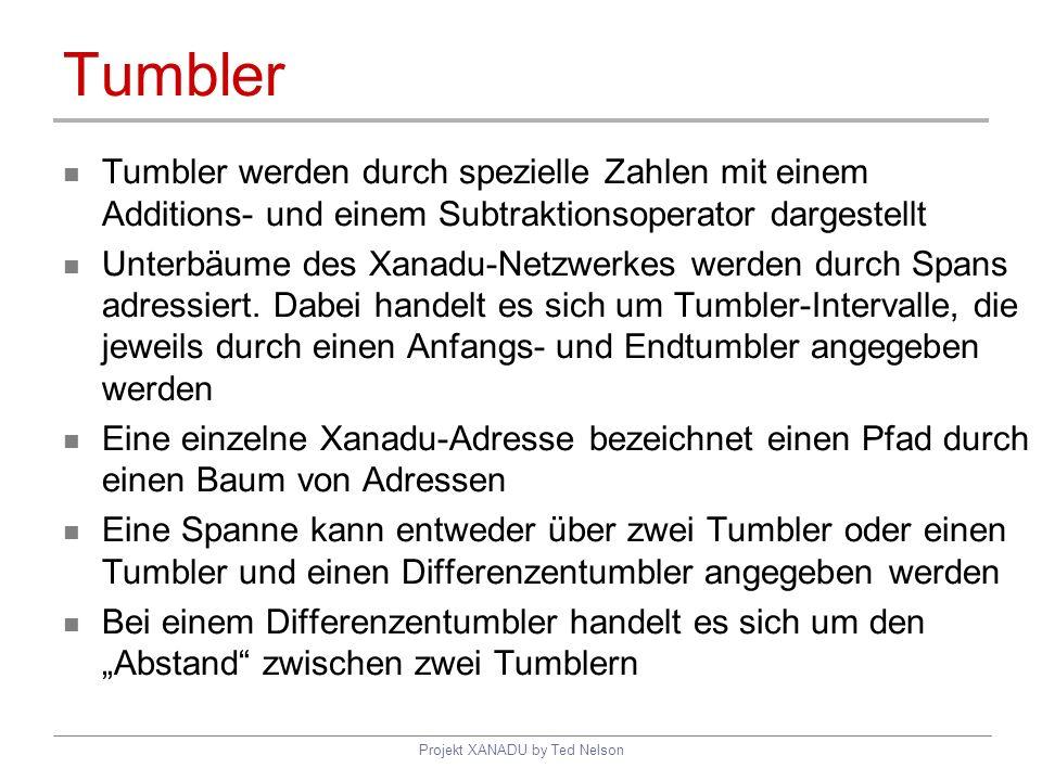 Projekt XANADU by Ted Nelson Tumbler Tumbler werden durch spezielle Zahlen mit einem Additions- und einem Subtraktionsoperator dargestellt Unterbäume