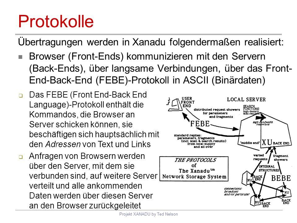 Projekt XANADU by Ted Nelson Protokolle Übertragungen werden in Xanadu folgendermaßen realisiert: Browser (Front-Ends) kommunizieren mit den Servern (