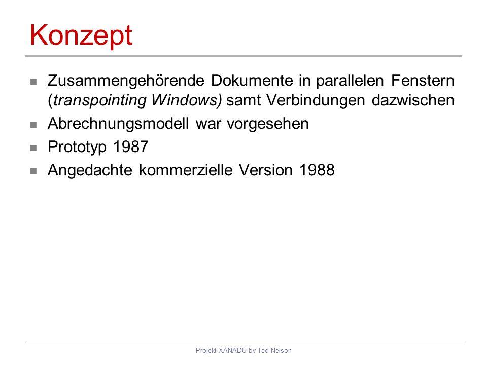 Projekt XANADU by Ted Nelson Konzept Zusammengehörende Dokumente in parallelen Fenstern (transpointing Windows) samt Verbindungen dazwischen Abrechnun