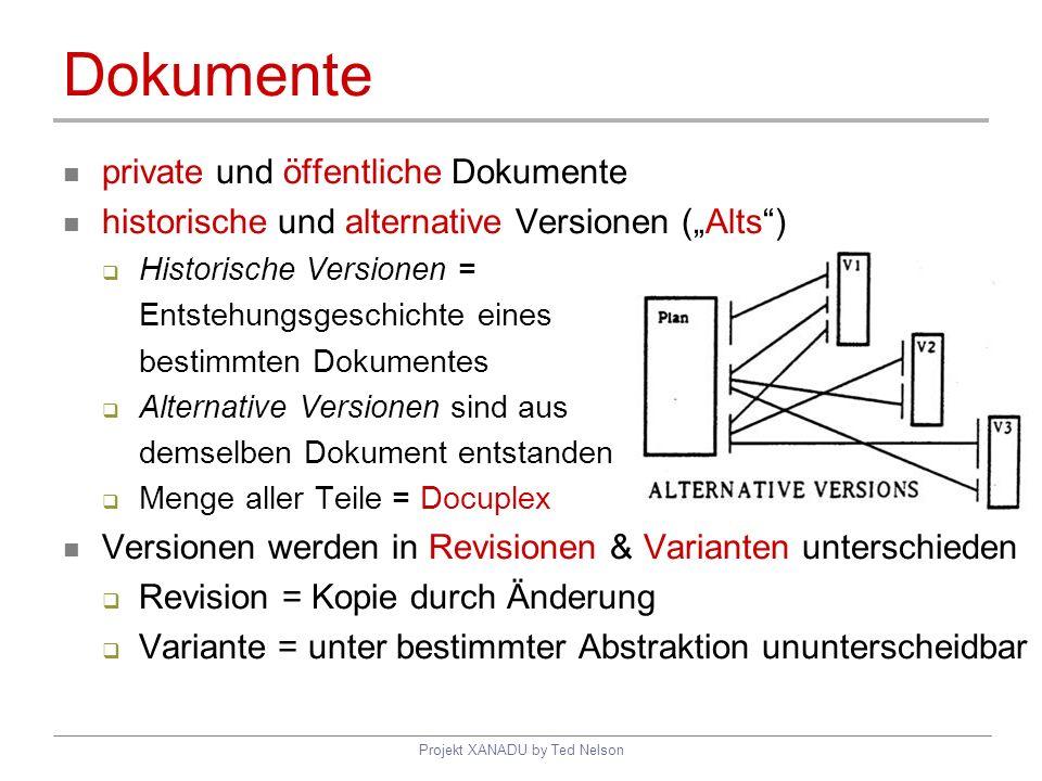 Projekt XANADU by Ted Nelson Dokumente private und öffentliche Dokumente historische und alternative Versionen (Alts) Historische Versionen = Entstehu
