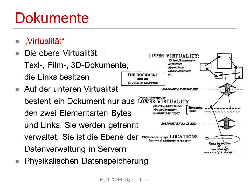 Projekt XANADU by Ted Nelson Dokumente Virtualität Die obere Virtualität = Text-, Film-, 3D-Dokumente, die Links besitzen Auf der unteren Virtualität