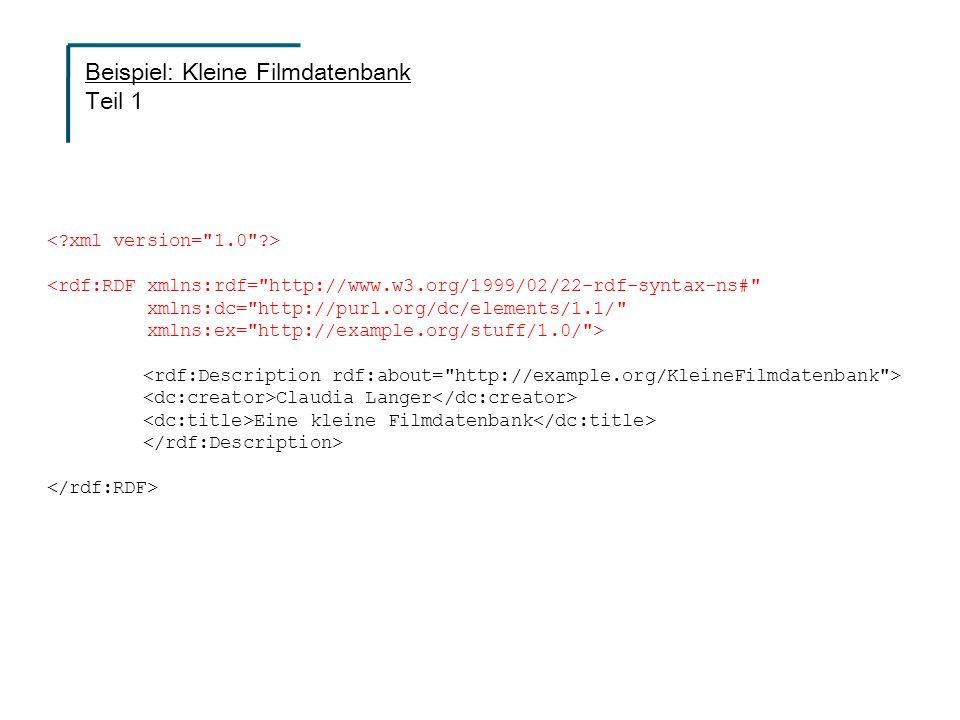 <rdf:RDF xmlns:rdf= http://www.w3.org/1999/02/22-rdf-syntax-ns# xmlns:dc= http://purl.org/dc/elements/1.1/ xmlns:ex= http://example.org/stuff/1.0/ > Claudia Langer Eine kleine Filmdatenbank Beispiel: Kleine Filmdatenbank Teil 1