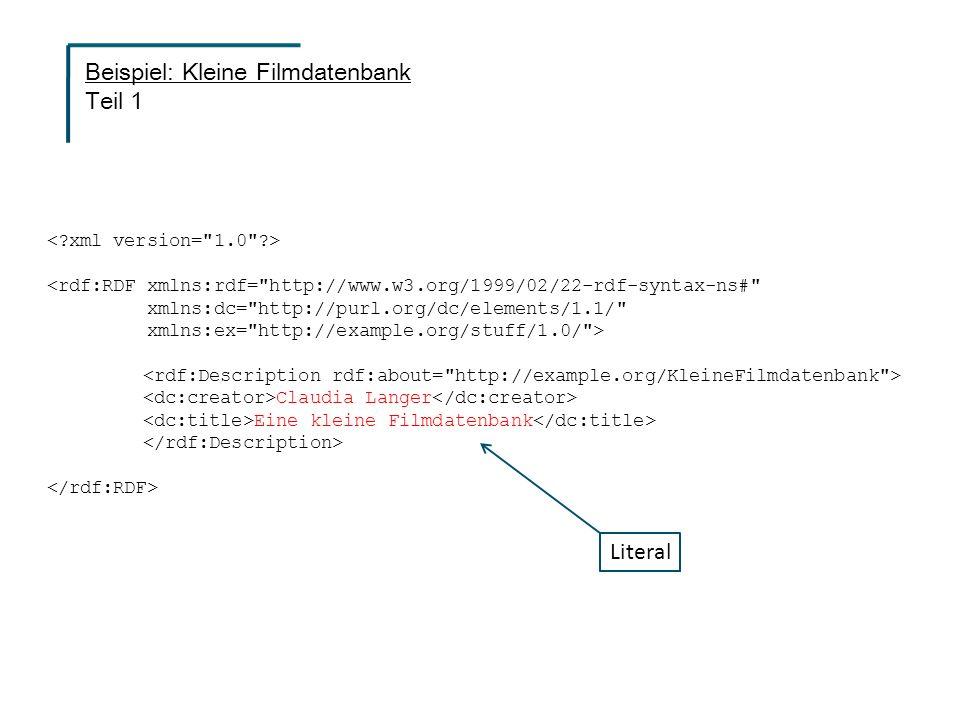 <rdf:RDF xmlns:rdf= http://www.w3.org/1999/02/22-rdf-syntax-ns# xmlns:dc= http://purl.org/dc/elements/1.1/ xmlns:ex= http://example.org/stuff/1.0/ > Claudia Langer Eine kleine Filmdatenbank Literal Beispiel: Kleine Filmdatenbank Teil 1