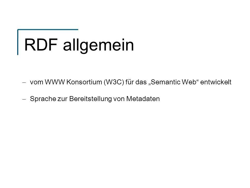 RDF allgemein vom WWW Konsortium (W3C) für das Semantic Web entwickelt Sprache zur Bereitstellung von Metadaten
