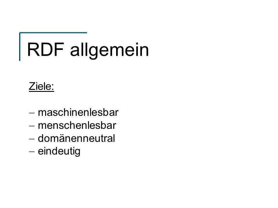 RDF allgemein Ziele: maschinenlesbar menschenlesbar domänenneutral eindeutig