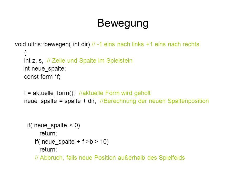 void ultris::bewegen( int dir) // -1 eins nach links +1 eins nach rechts { int z, s, // Zeile und Spalte im Spielstein int neue_spalte; const form *f; f = aktuelle_form(); //aktuelle Form wird geholt neue_spalte = spalte + dir; //Berechnung der neuen Spaltenposition if( neue_spalte < 0) return; if( neue_spalte + f->b > 10) return; // Abbruch, falls neue Position außerhalb des Spielfelds Bewegung